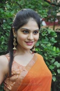 Vibha Natarajan Hot Stills in Orange Saree