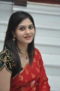 Vibha Natarajan Cute Stills in Red Saree