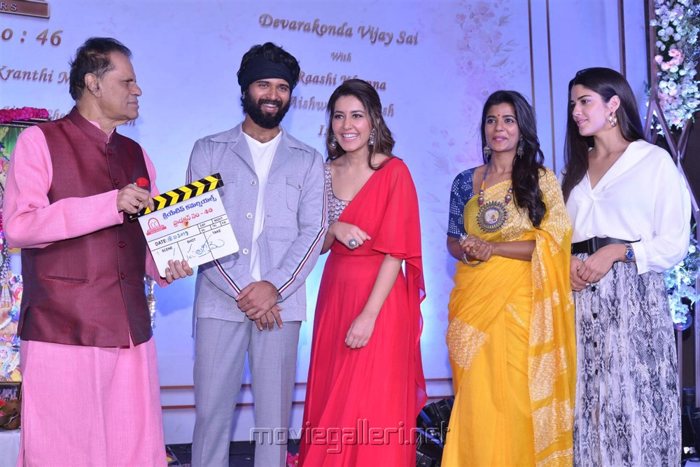 TSr, Vijay Devarakonda, Raashi Khanna, Aishwarya Rajesh, Izabelle Leite @ Creative Commercials Production No 46 Movie Launch Stills