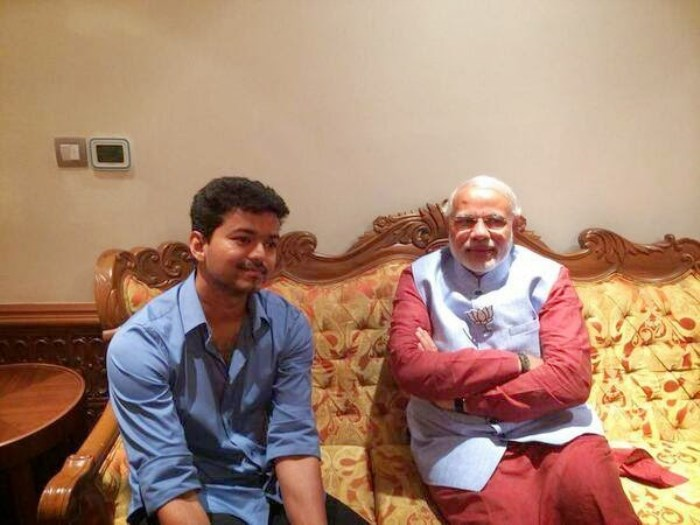 Actor Vijay meets Narendra Modi at Coimbatore Stills