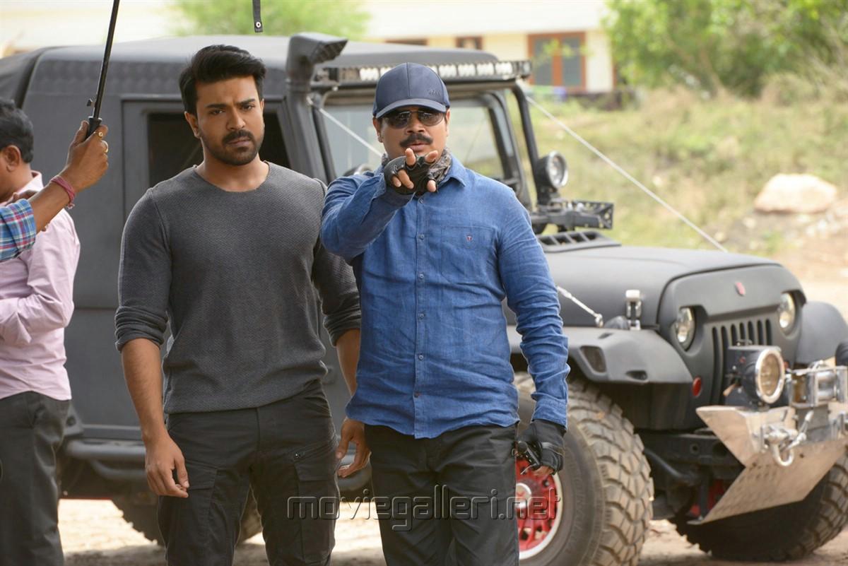 Ram Charan, Boyapati Srinu @ Vinaya Vidheya Rama Movie Working Stills