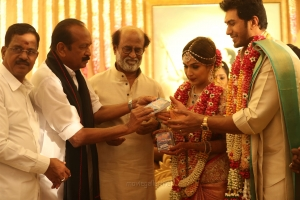 Kalaipuli S Thanu, Vaiko, Rajinikanth @ Vishagan Soundarya Rajinikanth Marriage Photos HD