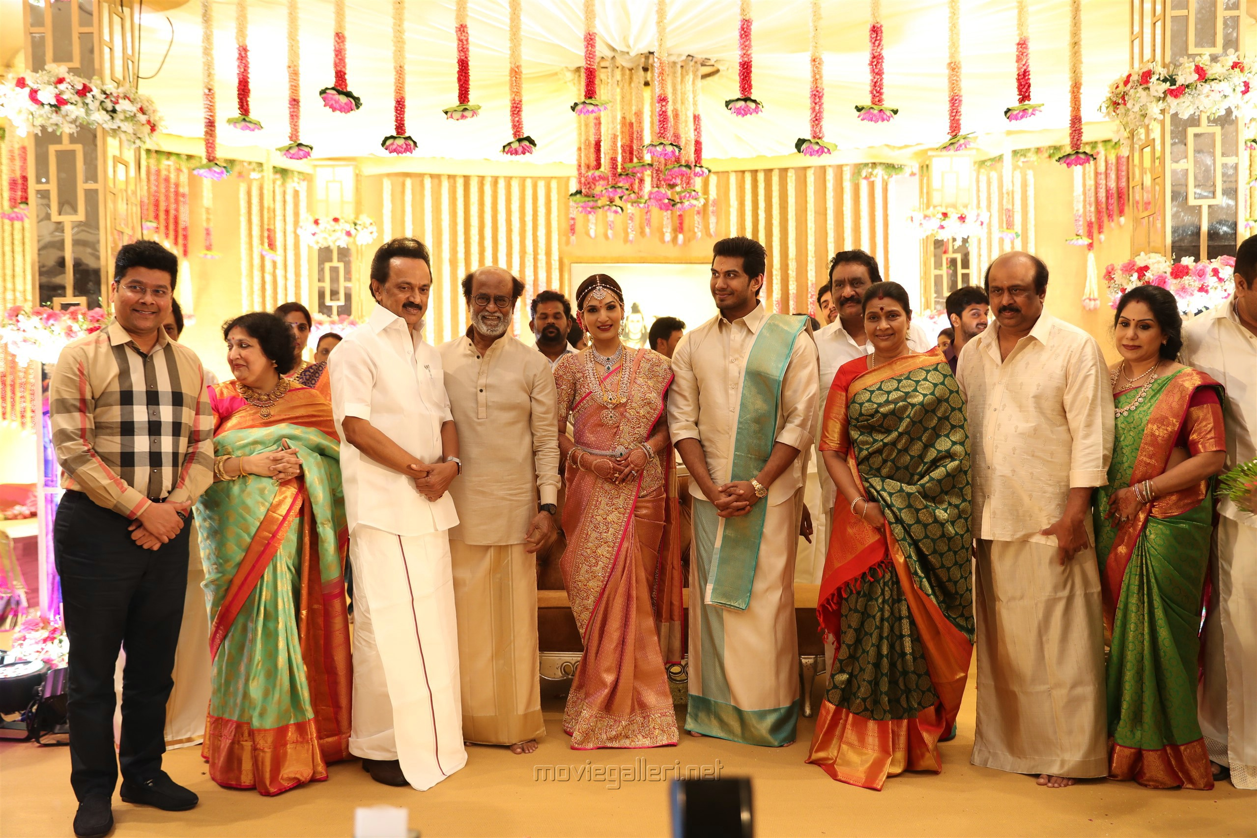 DMK Leader MK Stalin @ Vishagan Soundarya Rajinikanth Marriage Photos HD
