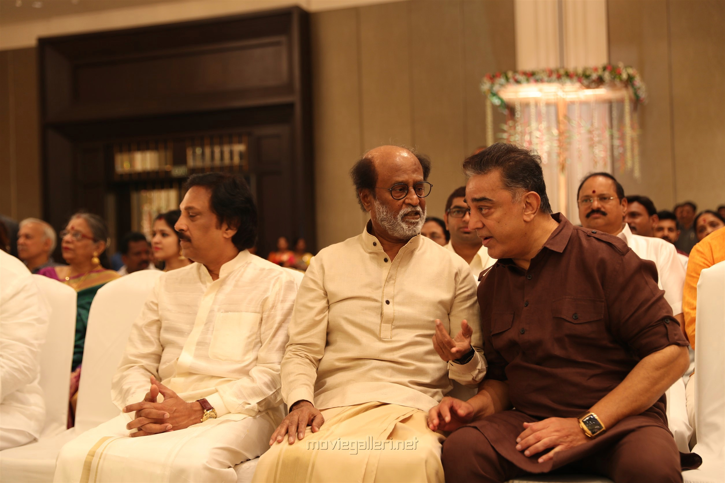 Ravi Raghavendra, Rajinikanth, Kamal Haasan @ Vishagan Soundarya Rajinikanth Marriage Photos HD