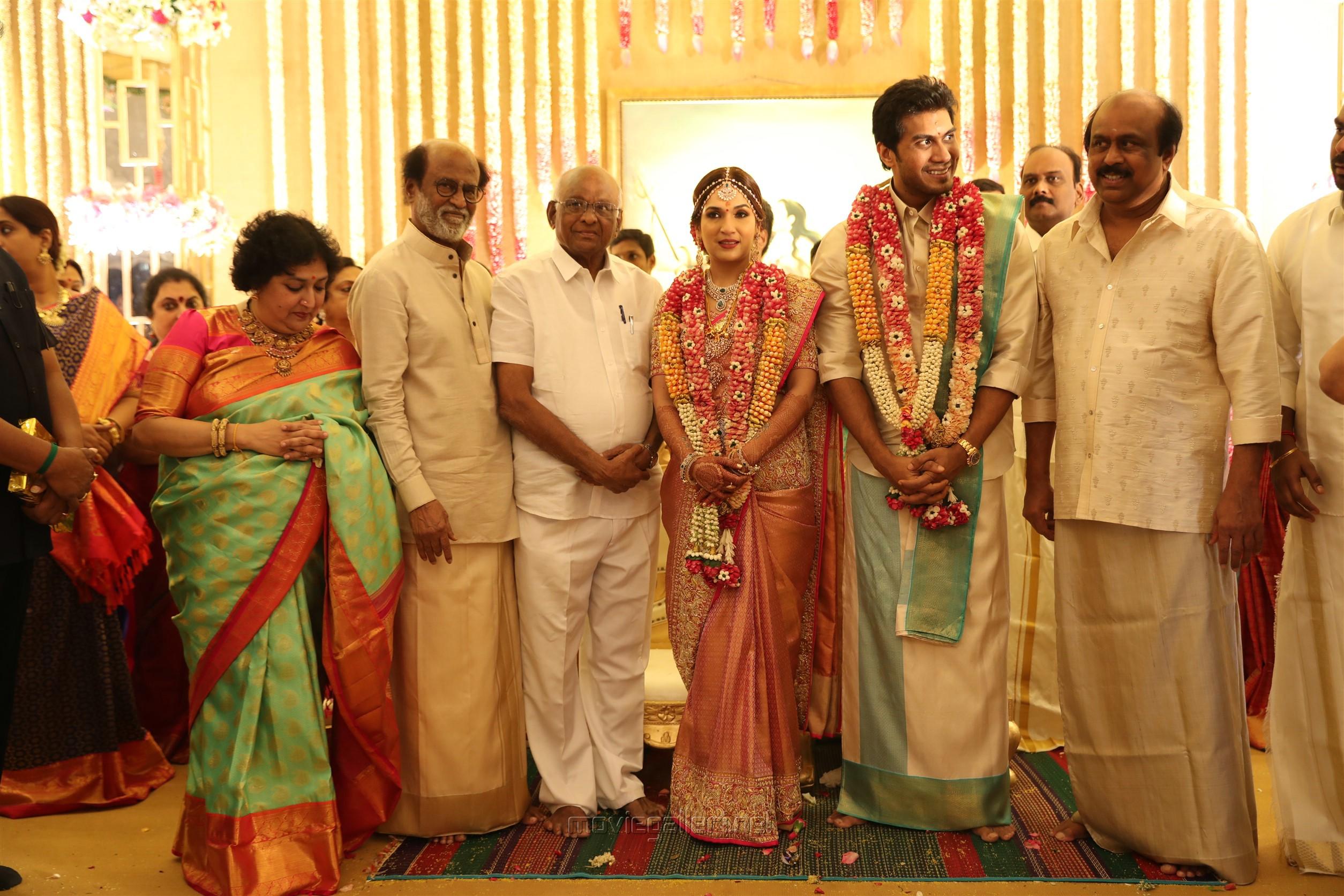SP MUthuraman @ Vishagan Soundarya Rajinikanth Marriage Photos HD