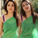 Tamanna Hot Green Saree Stills