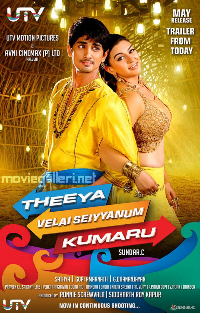 Siddharth & Hansika in Theeya Velai Seiyyanum Kumaru Trailer Release Posters