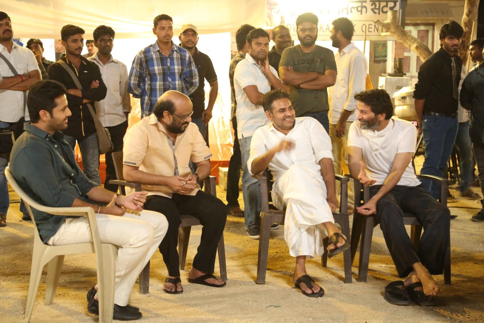 Powerstar Pawan Kalyan On The Sets of Trivikram-Nithiin's A Aa