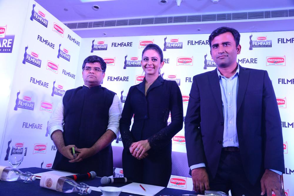 Jitesh Pillai (Editor, Filmfare Magazine), Actress Rakul Preet Singh & Vinay Subramanyam (Category Head, Health & Wellness, Britannia Industries Limited) @ 63rd Britannia Filmfare Awards South 2016 Press Conference in Hyderabad.