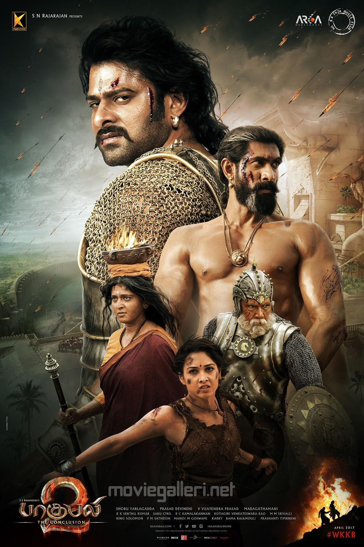 Prabhas, Rana Daggubati, Anushka Shetty,  Tamannaah, Sathyaraj in Baahubali 2 Tamil Movie Poster