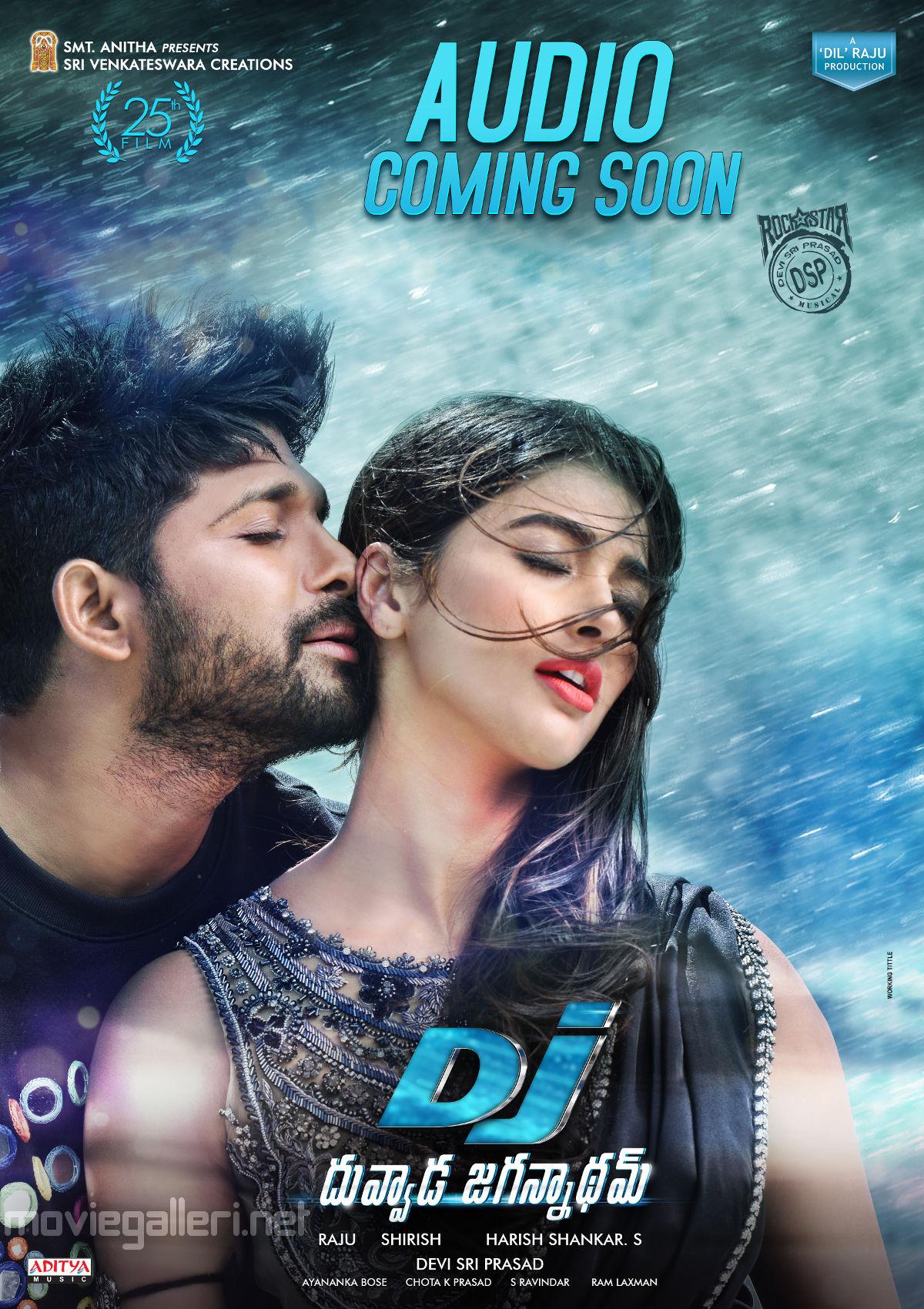 Actor Allu Arjun, Actress Pooja Hegde starrer Duvvada Jagannadham Movie Audio Coming Soon Poster
