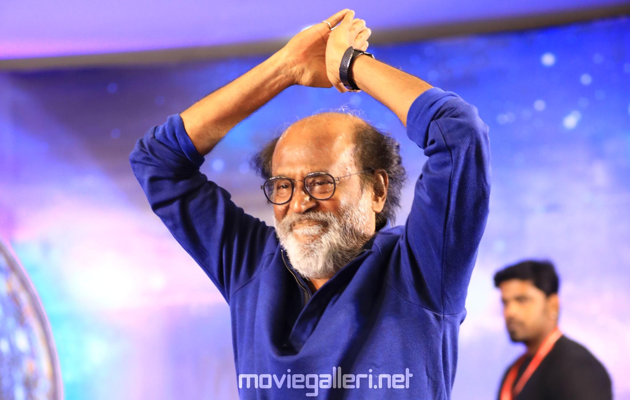 Superstar Rajinikanth New Photos in Blue Shirt