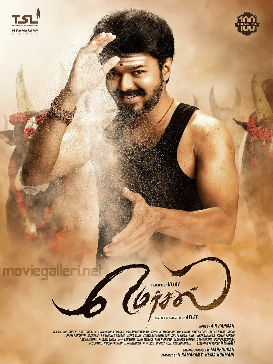 Actor Vijay 61 Movie Title Mersal First Look Poster