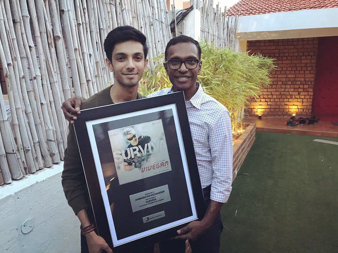 Vivegam Surviva Anirudh Ravichander was honoured by Sony Music South