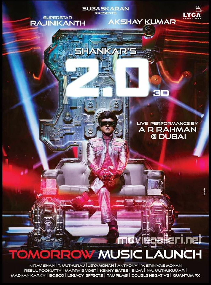 2.0 Music Launch tomorrow poster