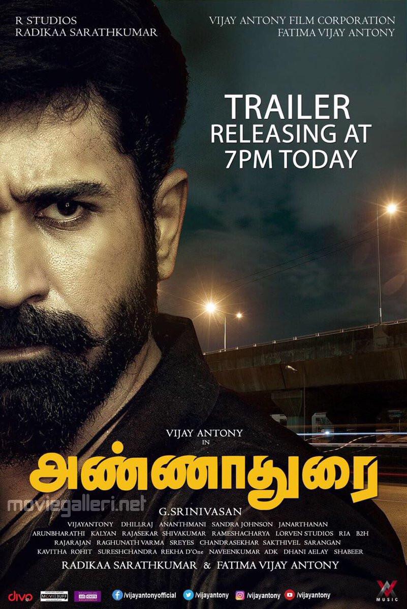 Actor Vijay Antony Annadurai Movie Trailer Releasing Today Poster.