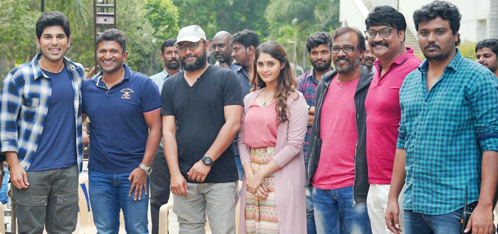Puneeth Rajkumar visits Allu Sirish's Okka Kshanam sets