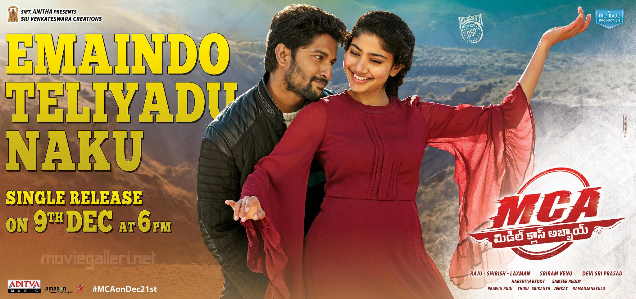 Nani Sai Pallavi MCA Movie Emaindo Teliyadu Naku Single Release Wallpaper
