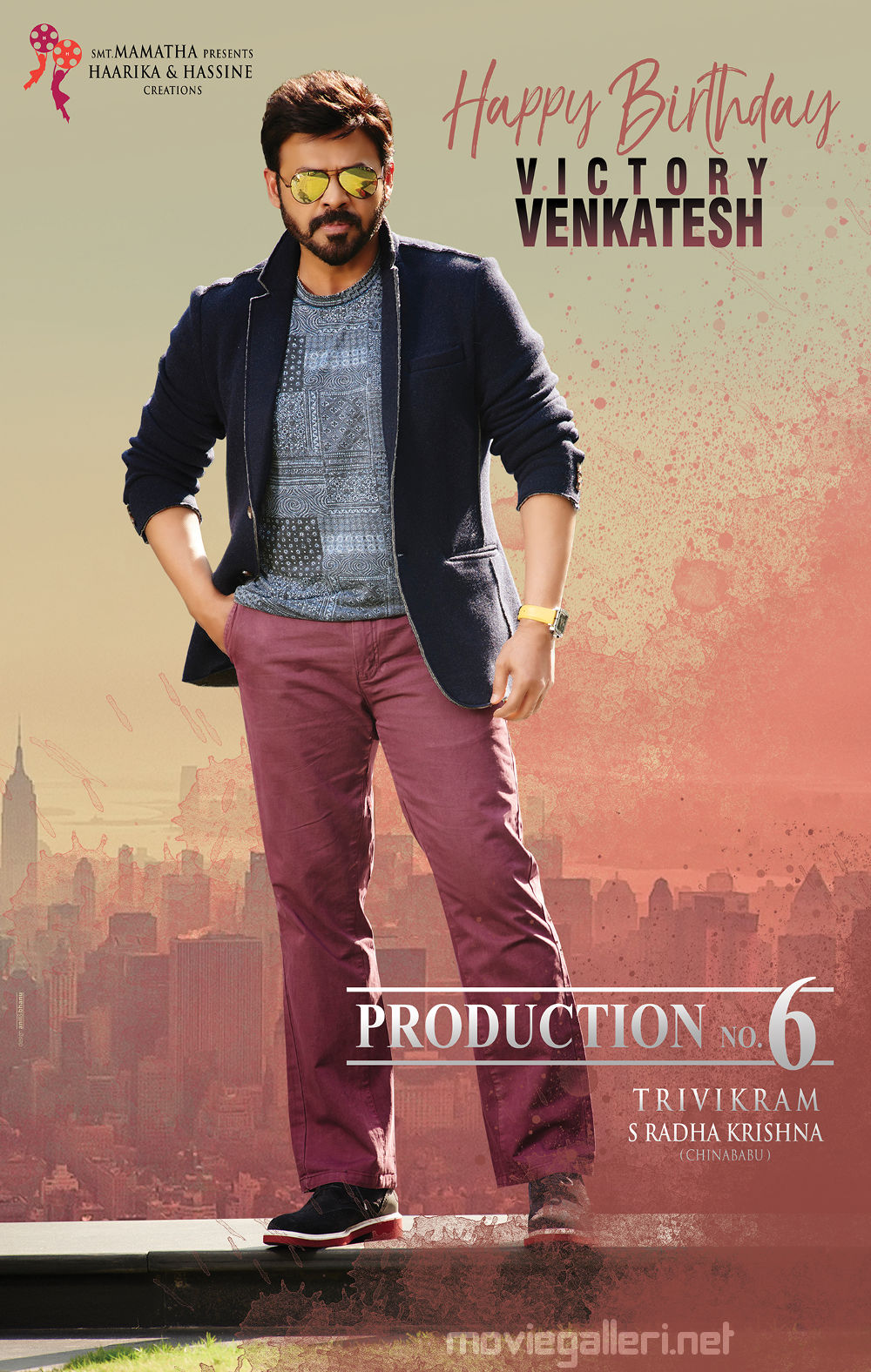 Trivikram Haarika & Hassine Creations birthday wishes to Venkatesh Posters