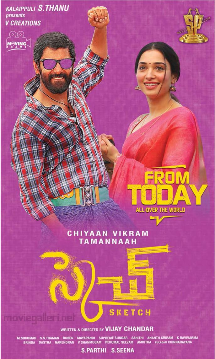 Chiyaan Vikram Tamannaah Sketch Movie Release Today Posters