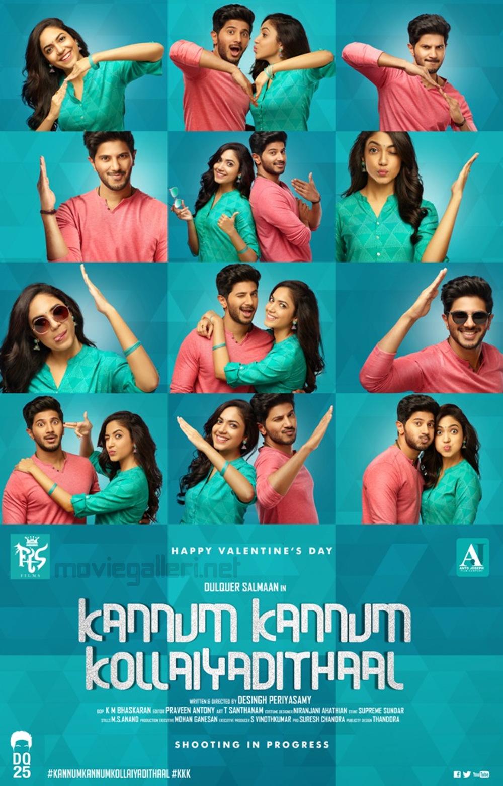 Dulquer Salmaan Ritu Verma Kannum Kannum Kollai Adithal First Look Poster