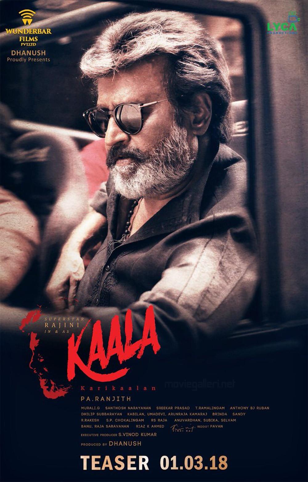Superstar Rajinikanth Kaala Movie Teaser on March 1st Poster