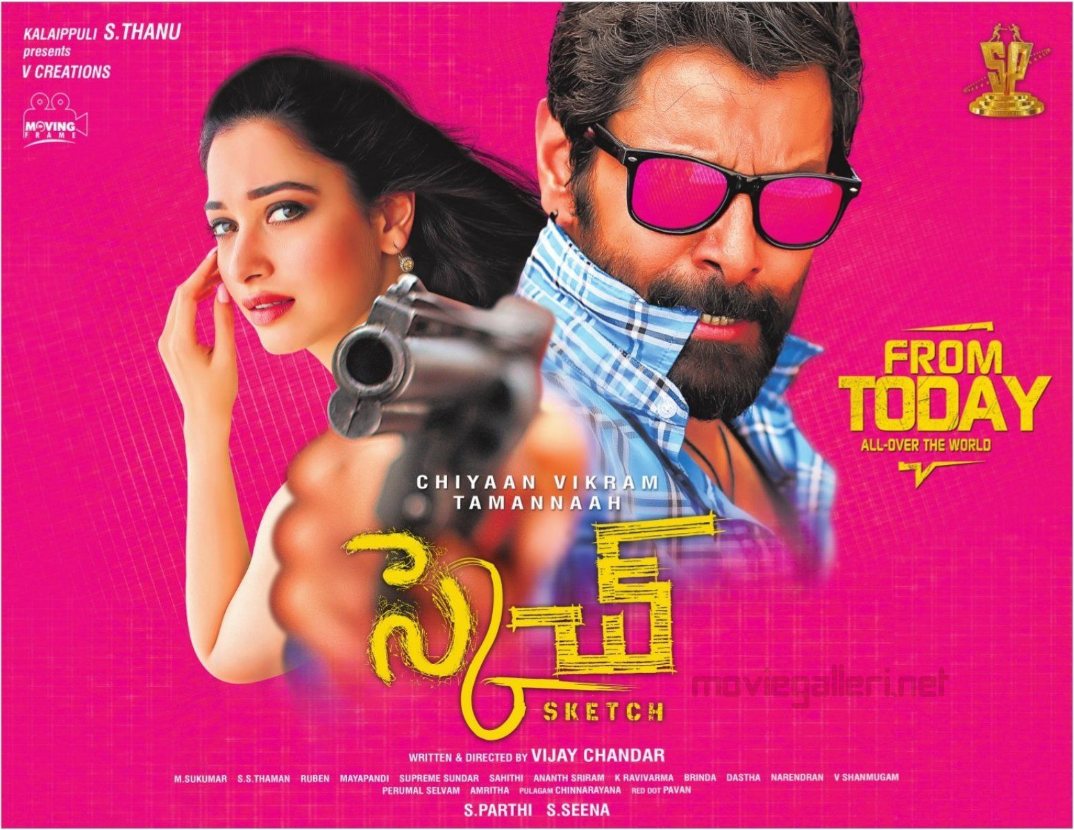 Tamannaah Chiyaan Vikram Sketch Movie Release Today Posters