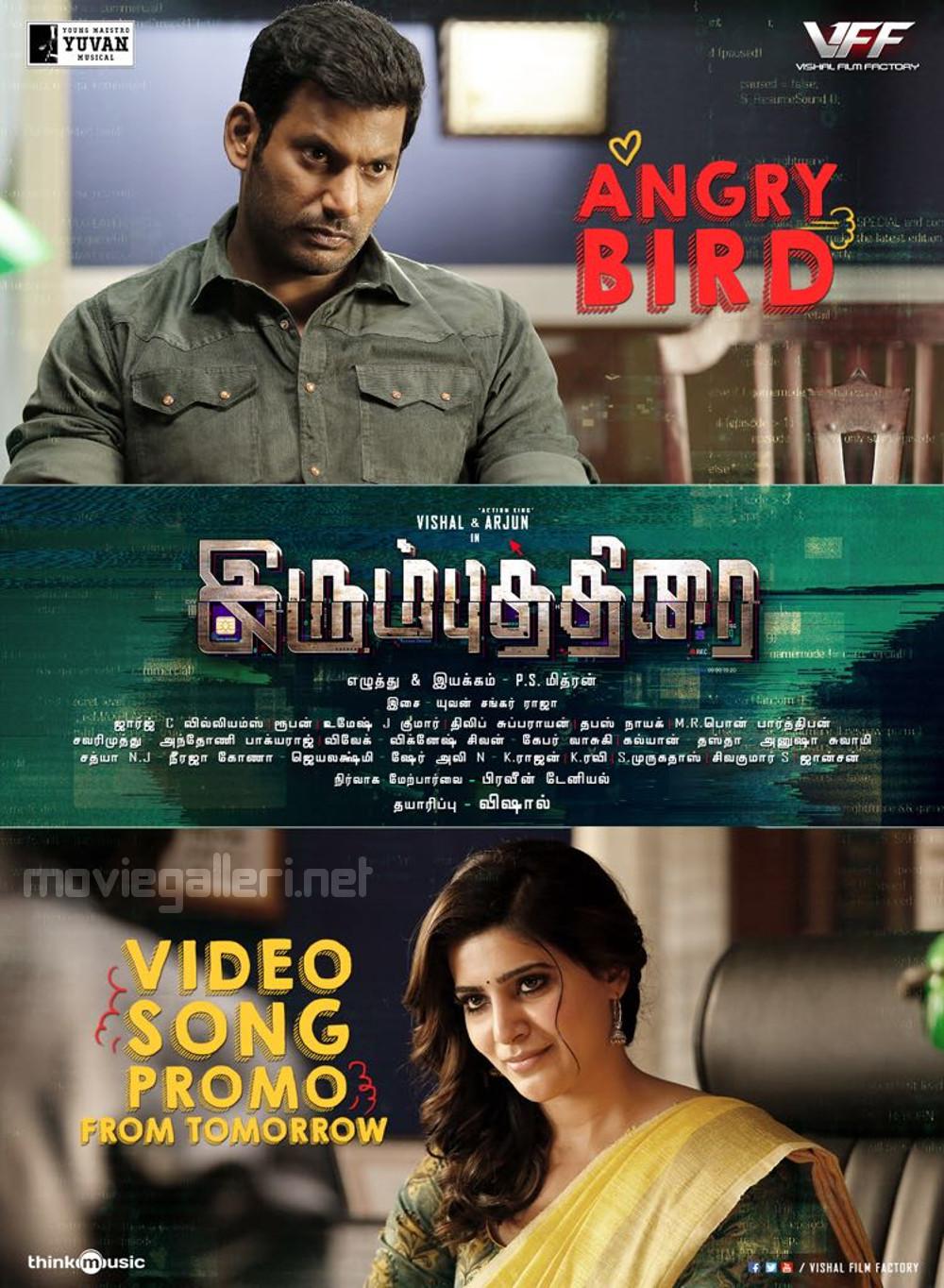 Vishal Samantha Irumbu Thirai Angry Bird Video Song Promo Release Posters
