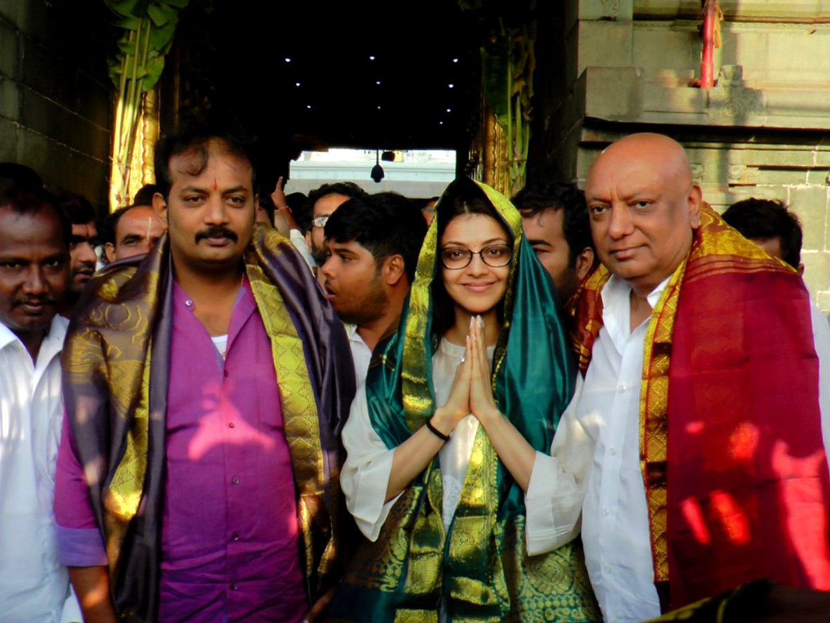 Actress Kajal Agarwal at Tirupati Venkateswara Temple Tirumala