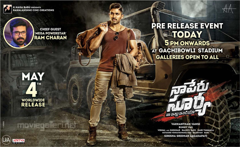 Allu Arjun Naa Peru Surya Pre Release Event Today Posters HD