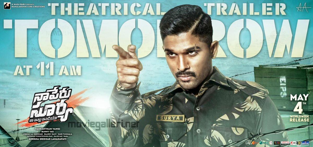 Allu Arjun Naa Peru Surya Theatrical Trailer Release Tomorrow Poster