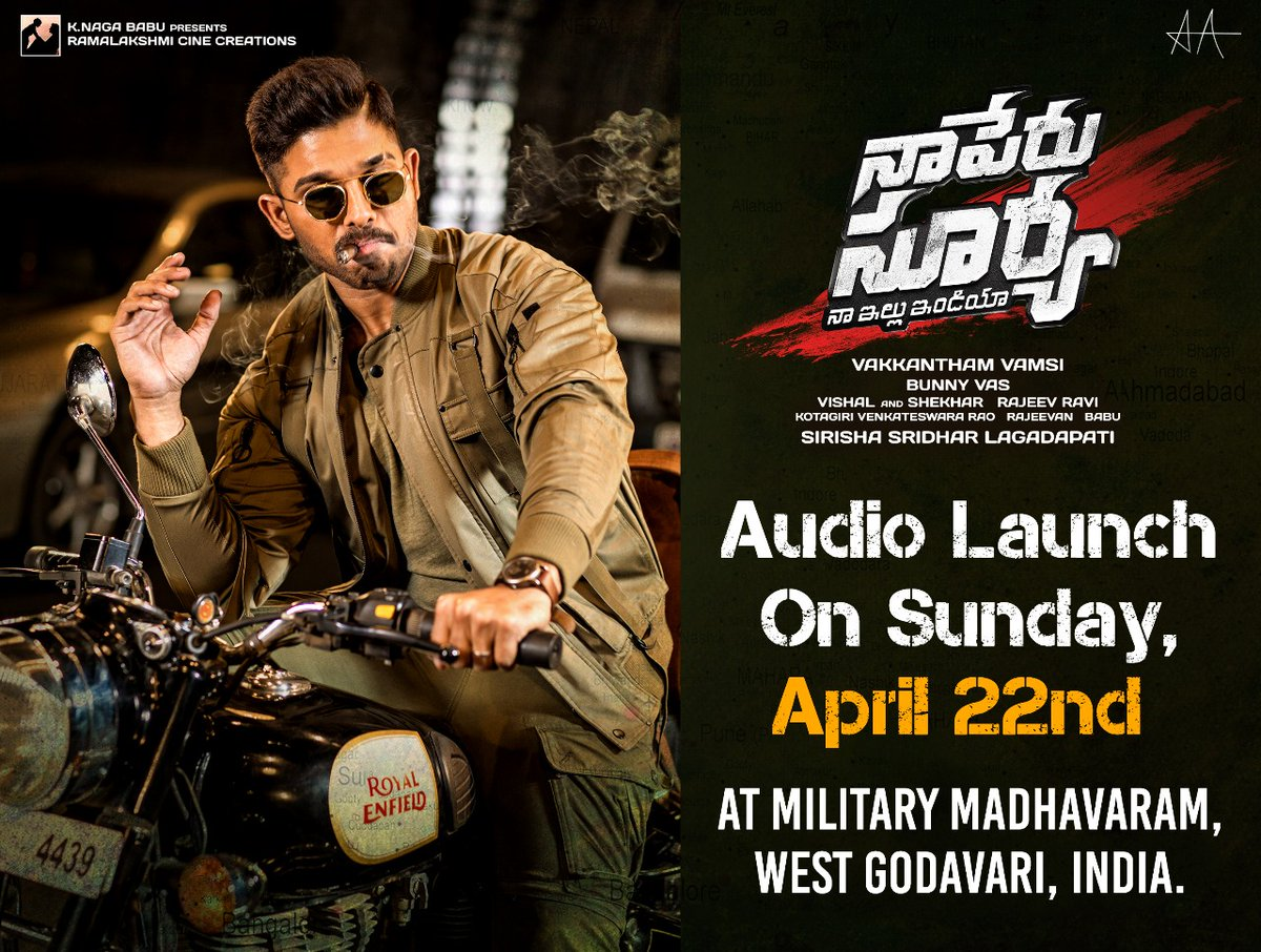 Naa Peru Surya Audio Launch Date April 22nd Poster