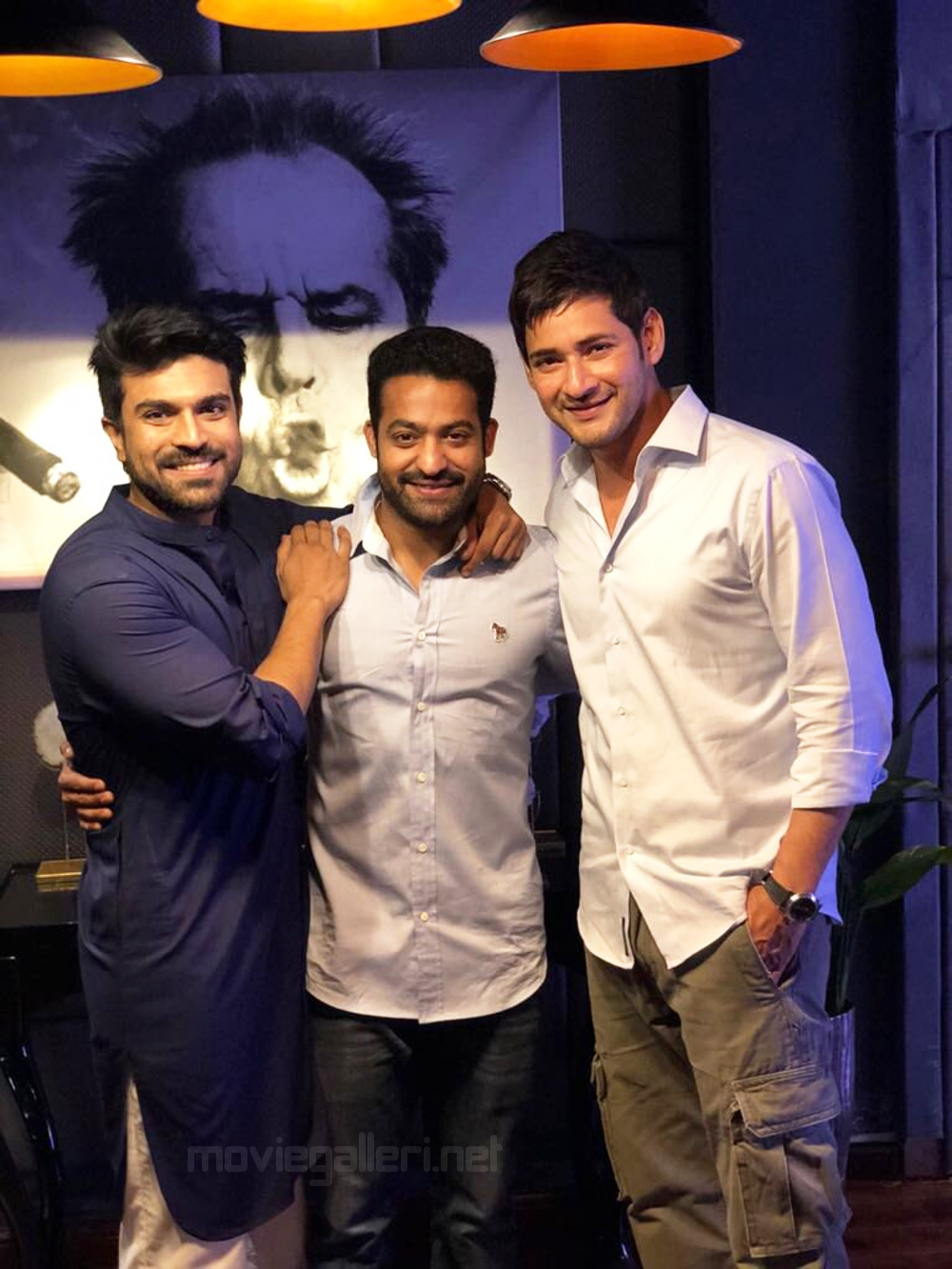 Tollywood Top Stars MegaPowerstar Ram Charan, Young Tiger Jr NTR & Superstar Mahesh Babu in One Single Rare Still