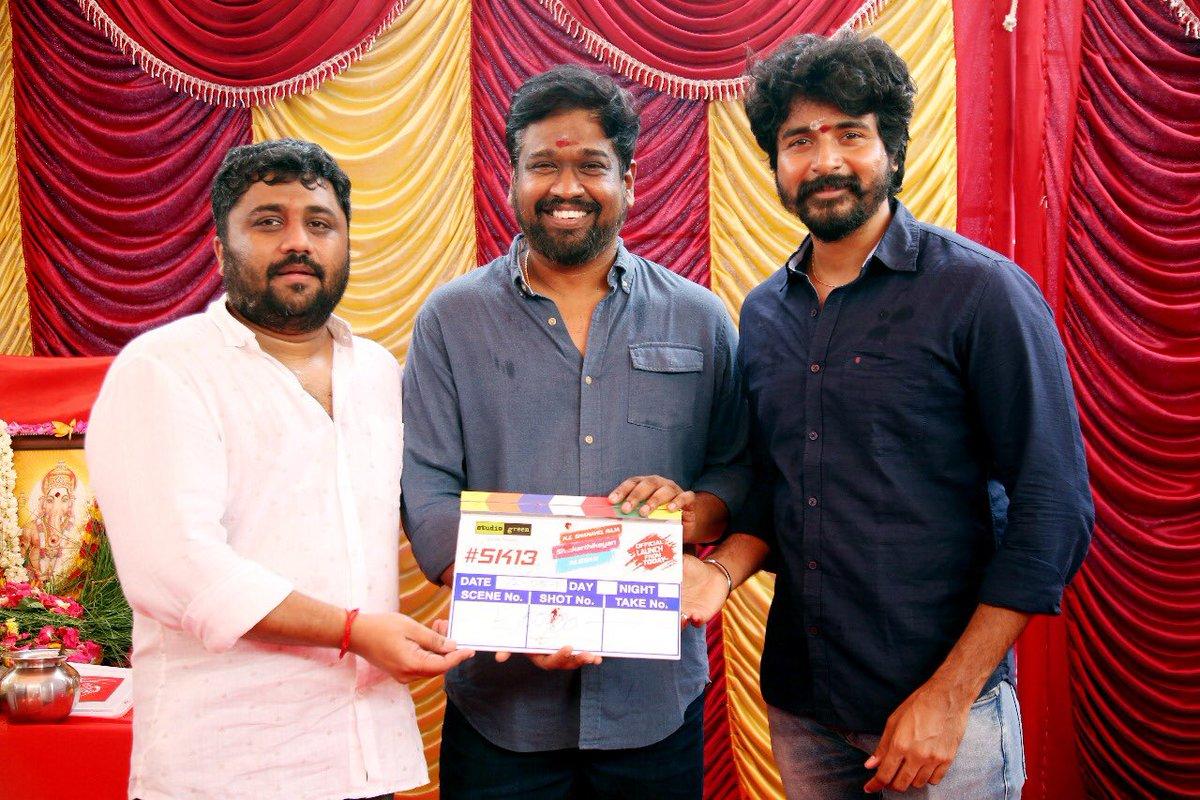 KE Gnanavel Raja, M Rajesh, Sivakarthikeyan @ SK13 Movie Pooja Stills