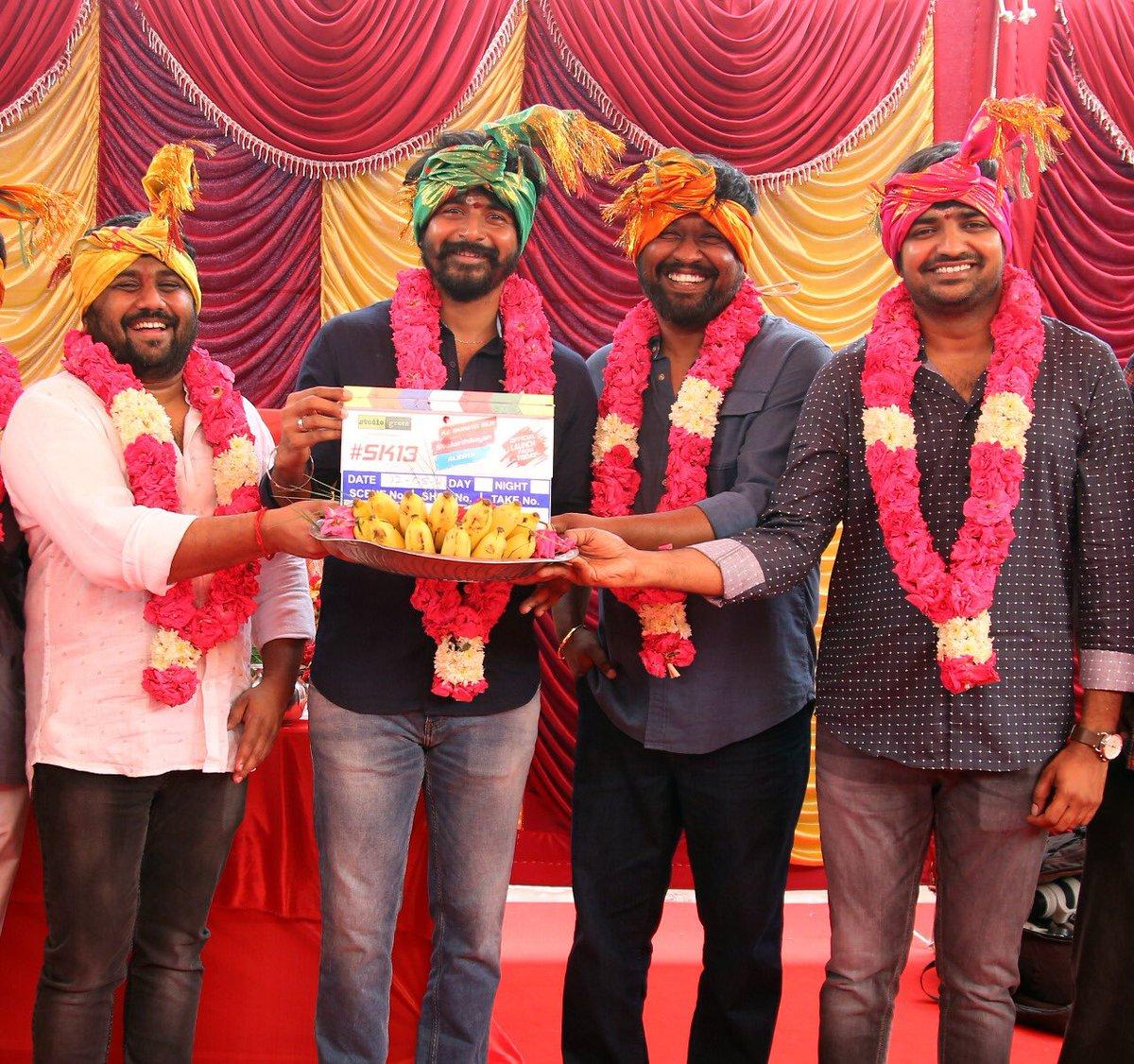 KE Gnanavel Raja, Sivakarthikeyan, Sathish @ SK13 Movie Pooja Stills
