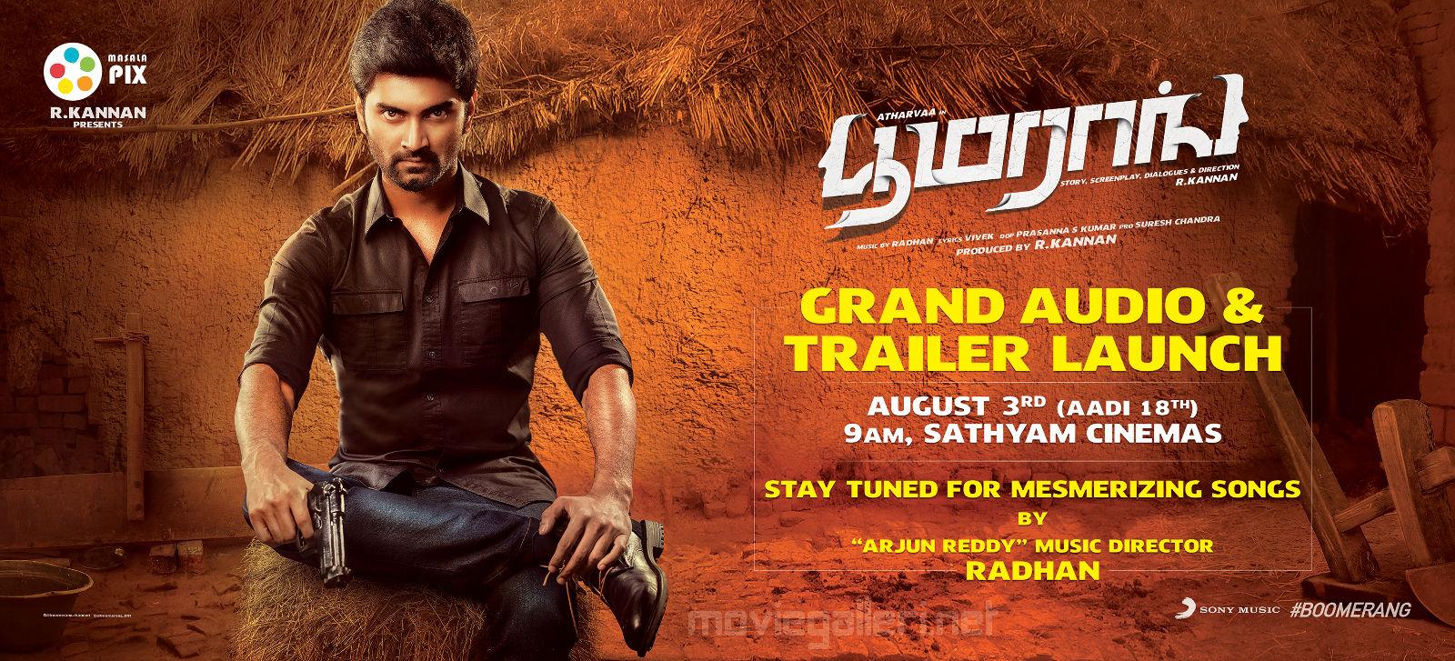 Atharvaa Murali's musical 'Boomerang' from August 3