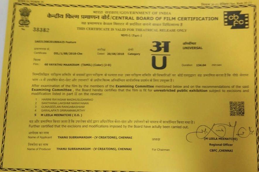 60 Vayathu Maaniram Censor with clean U certificate