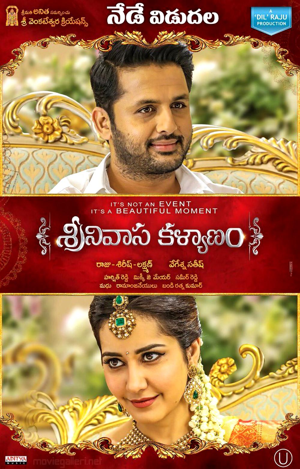 Nithin, Raashi Khanna in Srinivasa Kalyanam Movie Release Today Posters