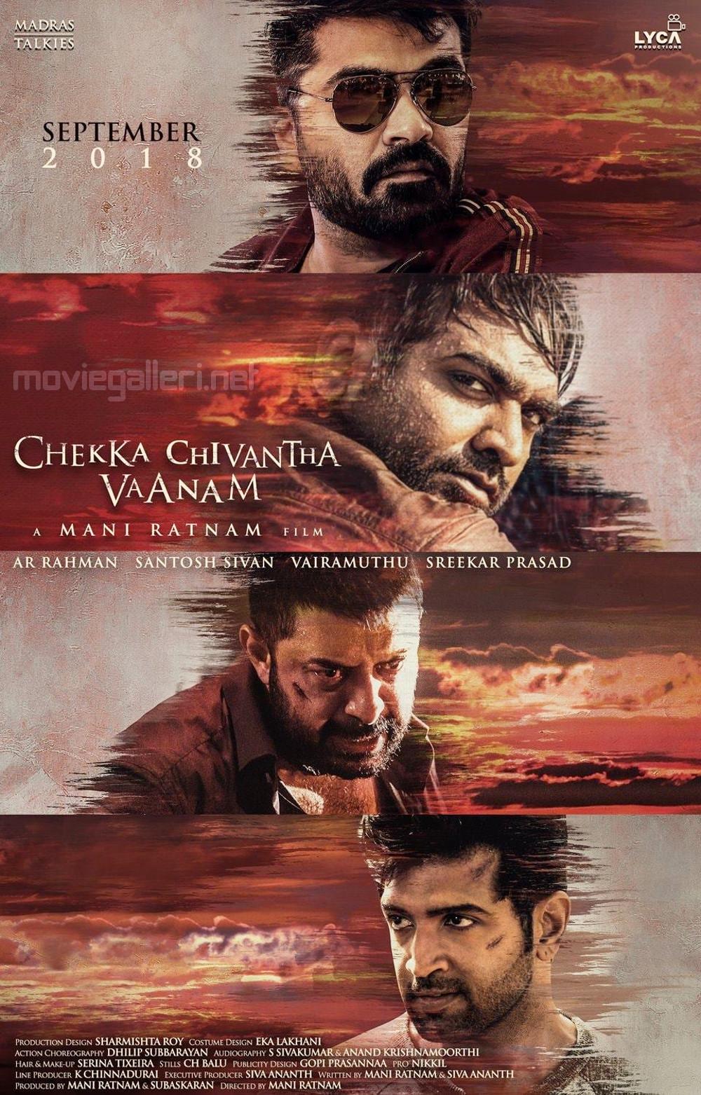 STR Vijay Sethupathi Arvind Swamy Arun Vijay Chekka Chivantha Vaanam Movie Poster HD