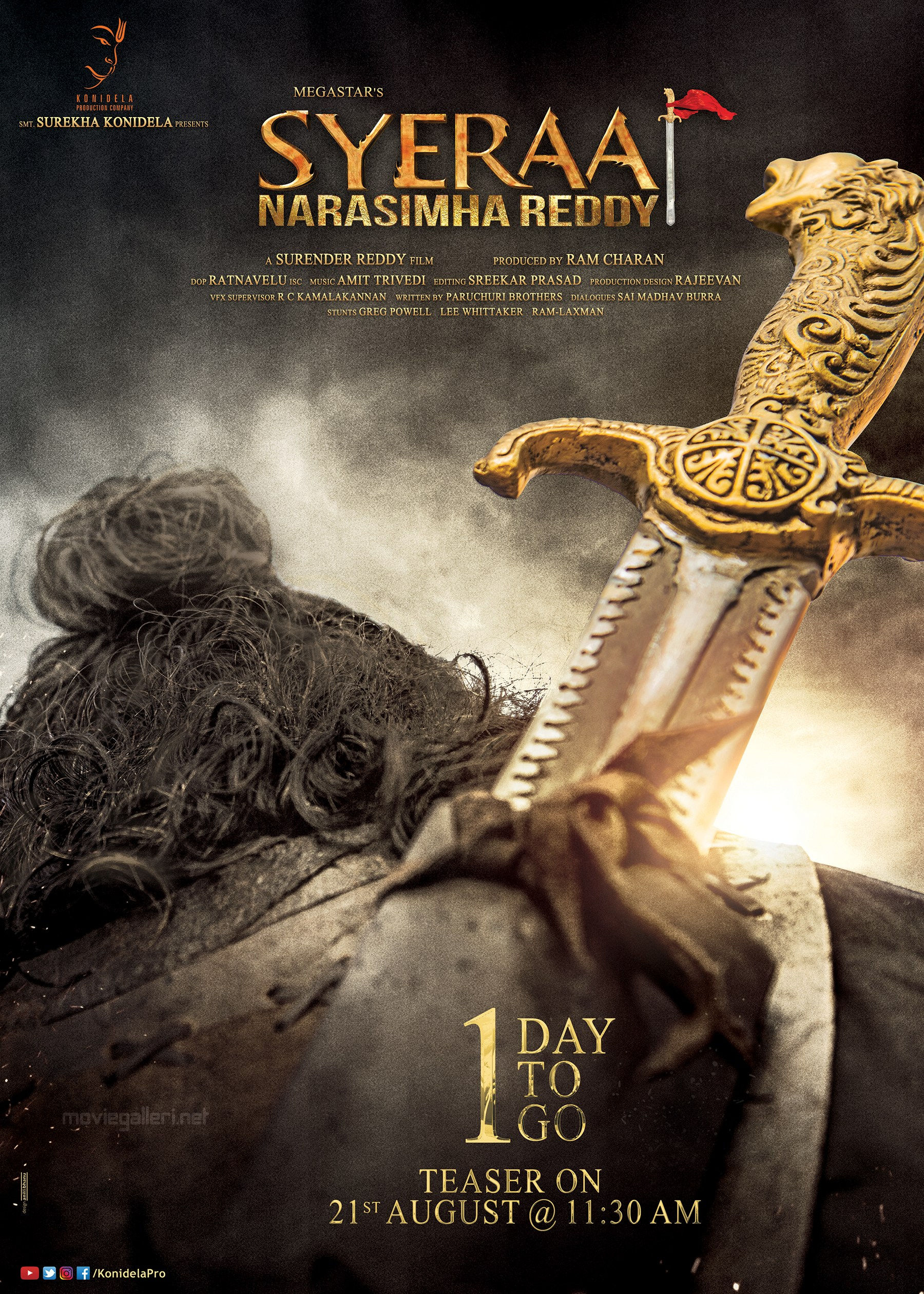 Syeraa Narasimha Reddy Teaser Releasing Tomorrow Poster