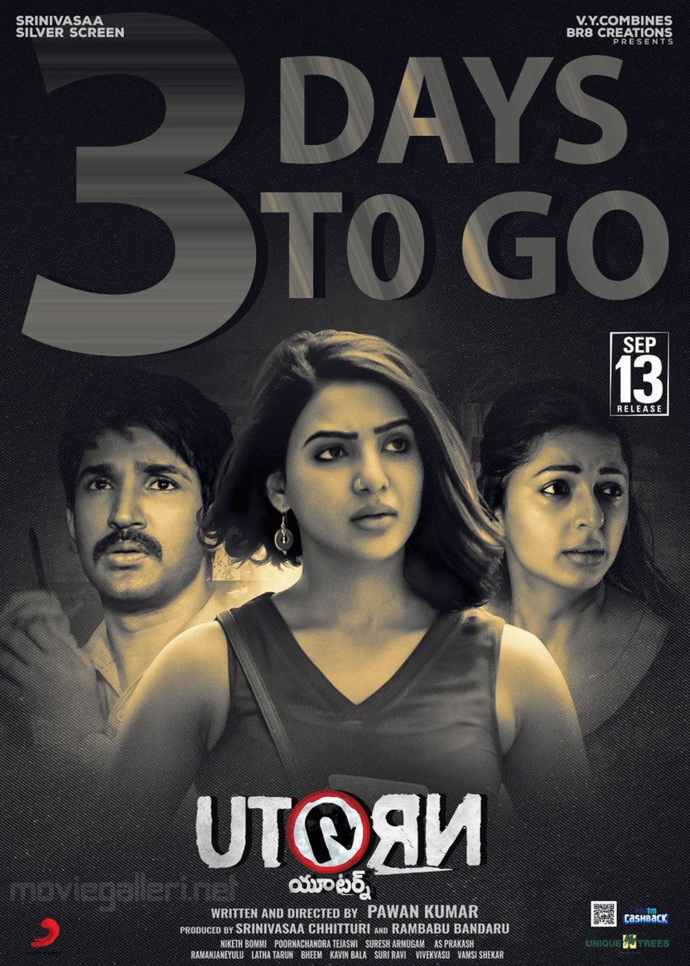 Aadhi Samantha Bhumika U Turn Movie 3 Days to Go Poster
