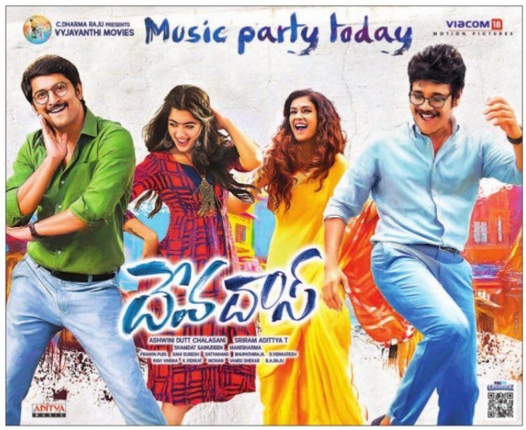 Nani, Rashmika Mandanna, Aakanksha Singh, Nagarjuna in Devadas Music Party Today Poster