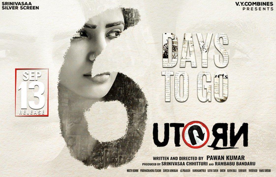 Samantha UTurn Movie 6 Days to Go Poster