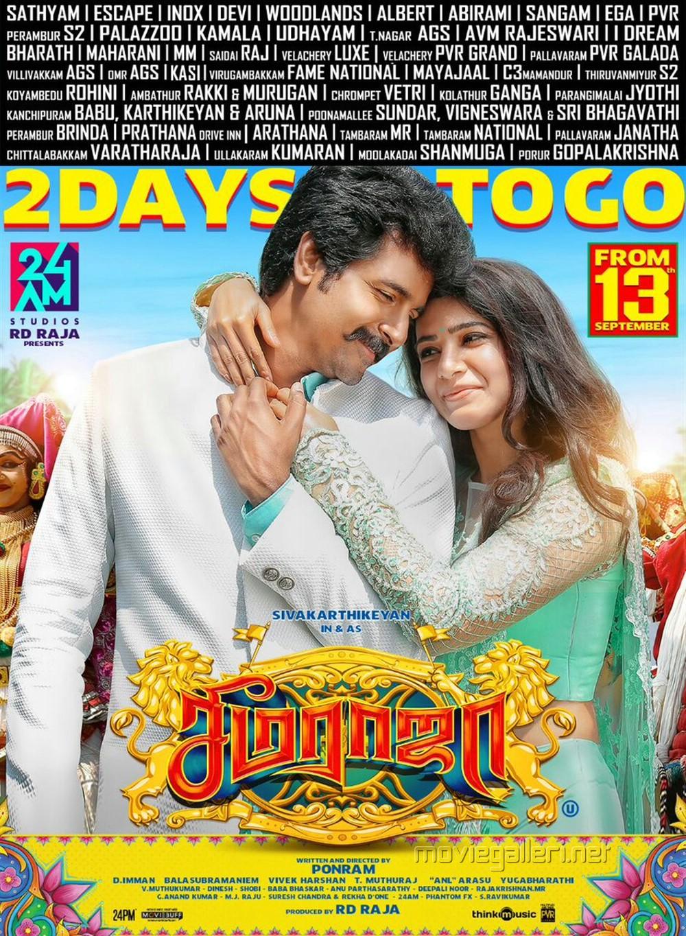 Sivakarthikeyan Samantha Seema Raja Movie 2 Days to Go Poster