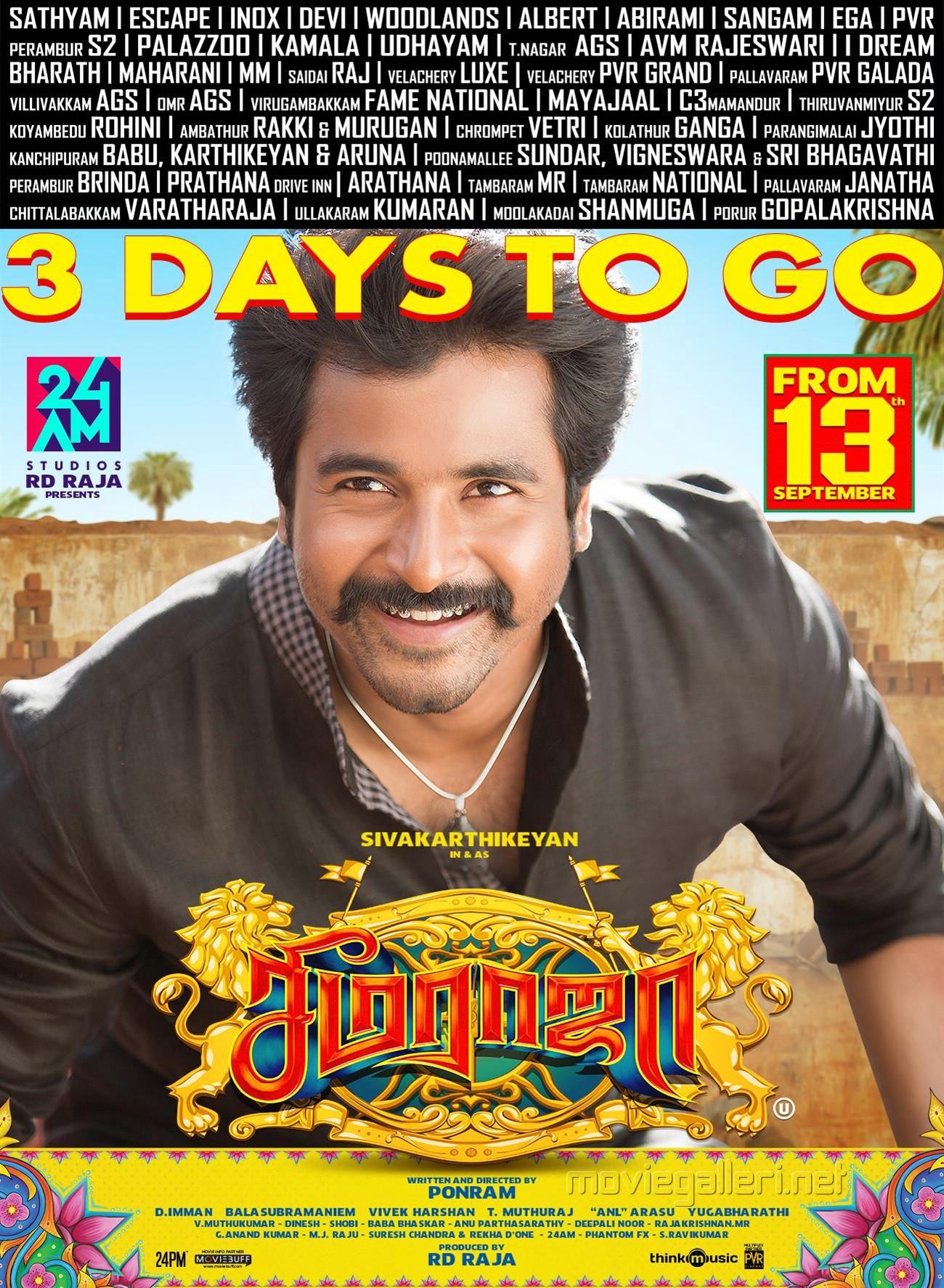 Sivakarthikeyan Seema Raja 3 Days to Go Poster