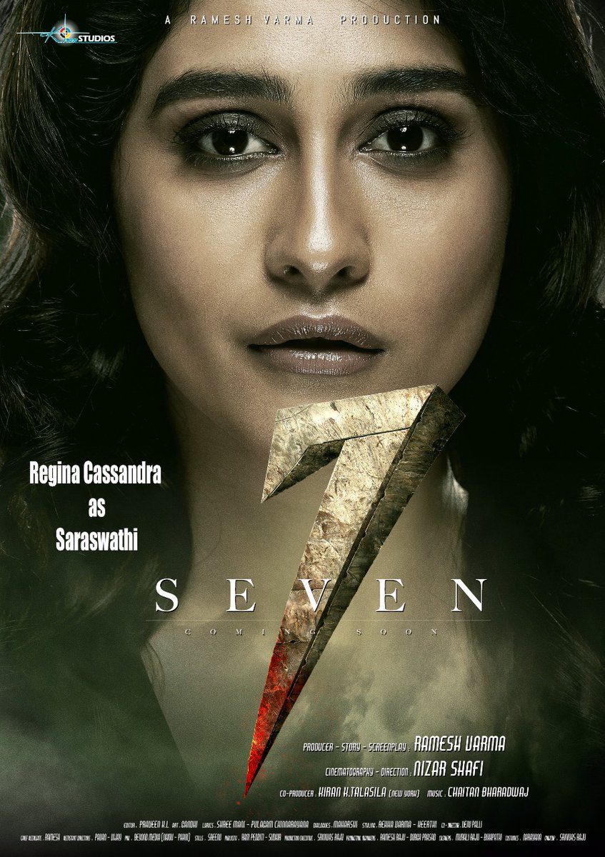 Actress Regina Cassandra as Saraswathi in 7 Seven Movie First Look Poster