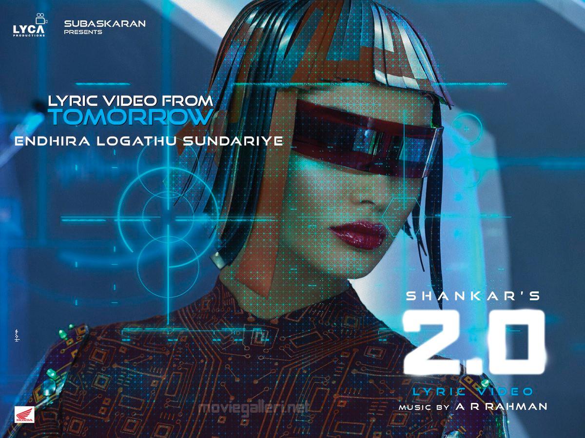 Amy Jackson in Endhira Logathu Sundariye 2.0 Movie Lyric Videos Releasing Tomorrow Posters