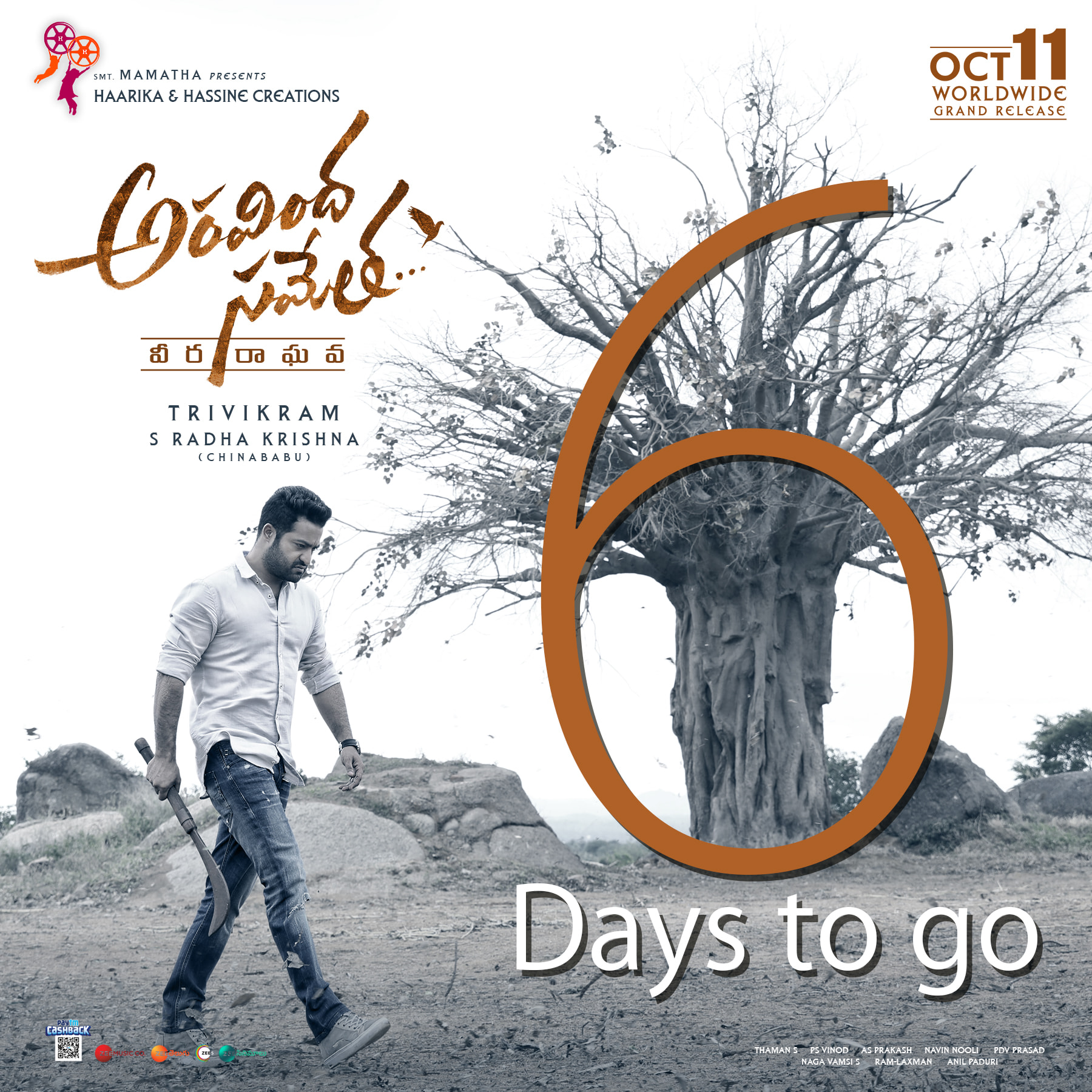 Jr NTR Aravinda Veera Raghava 6 Days to Go Poster