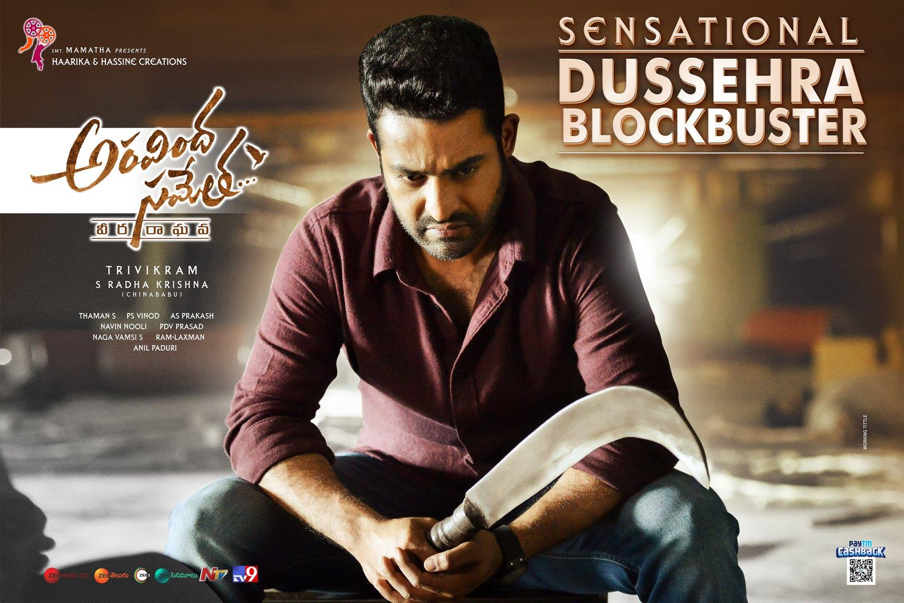 Jr NTR Aravindha Sametha Sensational Dussehra Blockbuster Wallpapers HD