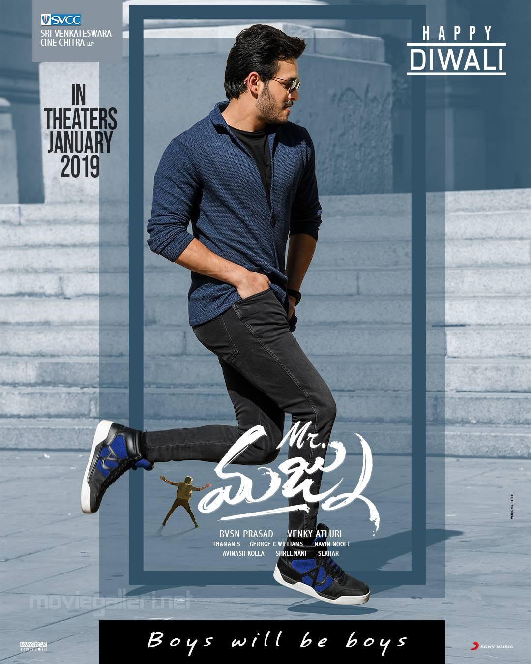 Actor Akhil Akkineni Mr Majnu Movie Diwali Wishes Poster HD